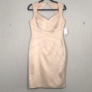 Jessica Simp. NWT Mitered BodyCon Champagne Dress